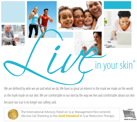 Live in your skin. Scarline Rx, We are defined by who we are and what we do. We have as great an interest in the mark we make on the world as the mark made on our skin. We are comfortable in our skin by the way we live and comfortable about our skin because our scar is not longer our calling card. The International Advisory  Panel on Scar Management Reccomends Silicone Gel Sheeting as the Gold Standard in Scar Reduction Therapy.